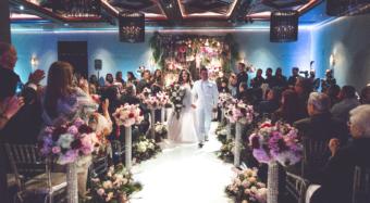 Great Gatsby Wedding Reception Setup at NOOR Ella Ballroom Banquet Hall