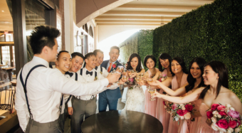 wedding party toast after the ceremony at noor los angeles