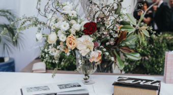 los angeles terrace wedding ceremony flowers and details