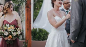beautiful floral wedding arch for wedding ceremony at noor los angeles