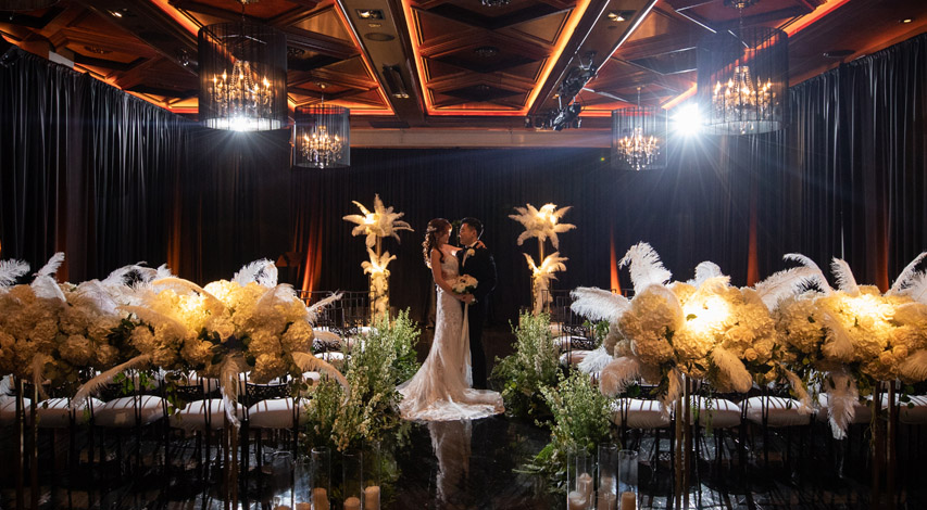 noor mardi gras themed los angeles wedding featured in ceremony magazine