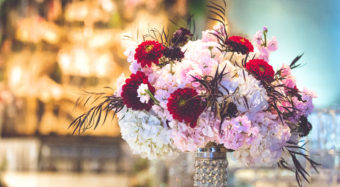 floral design and wedding ceremony details for great gatsby themed wedding
