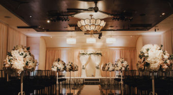 wedding ceremony setup in the sofia ballroom at noor los angeles