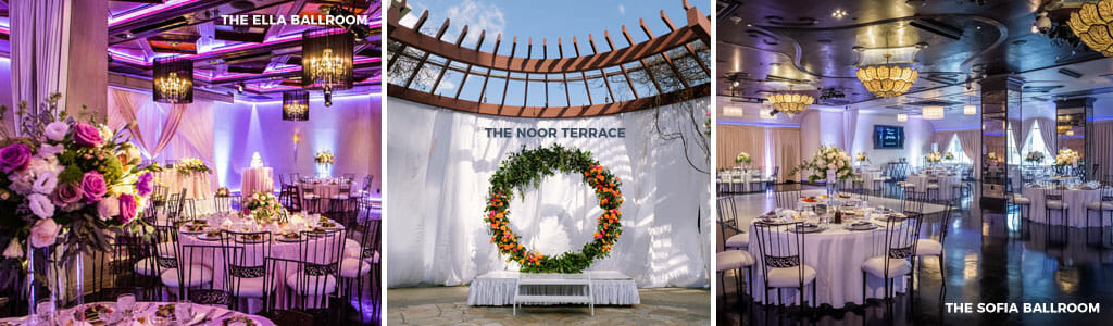 the ella banquet hall wedding reception setup the noor terrace with wedding ceremony arch and the sofia banquet hall with wedding reception setup