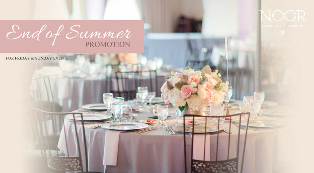 end of summer wedding and event venue promotion