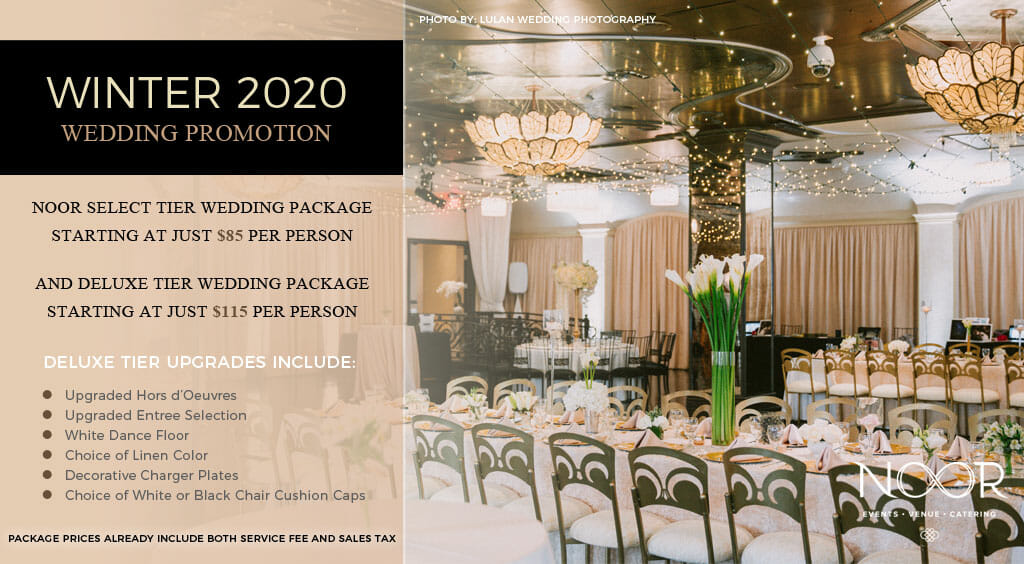 los angeles banquet hall wedding promotions details with couple sat a table with elegant red and green floral decorations and candlelight