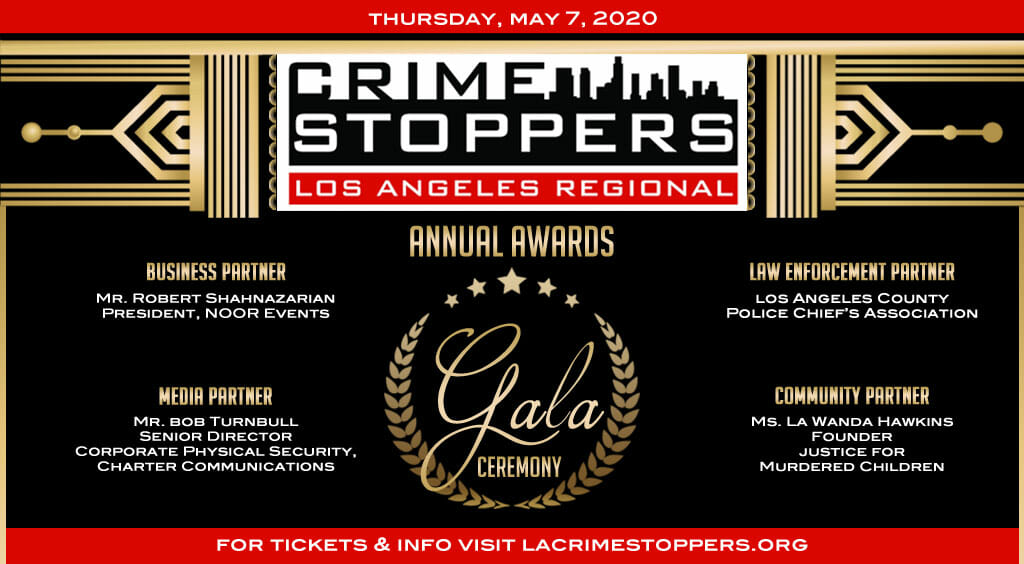 LA crime stoppers award gala flier in black gold and red
