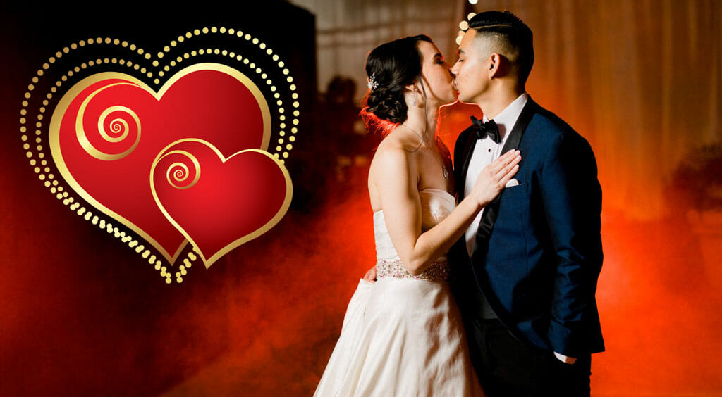 wedding couple in red smoke with love hearts