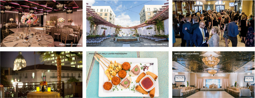 views of the four NOOR event venues including banquet halls and terrace