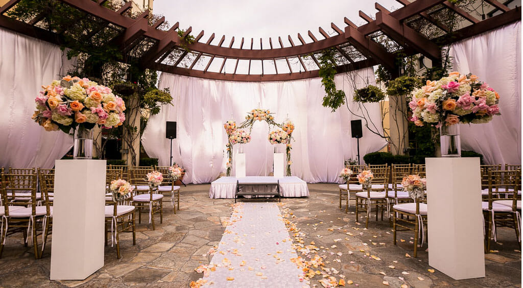 outdoor wedding ceremony setup on the NOOR terrace los angeles