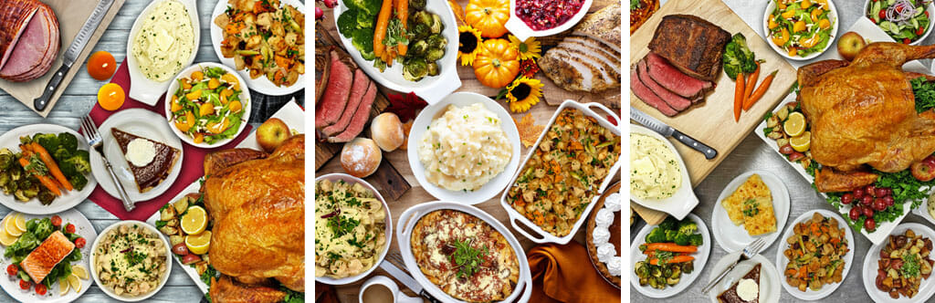 thanksgiving catering traditional holiday food overhead