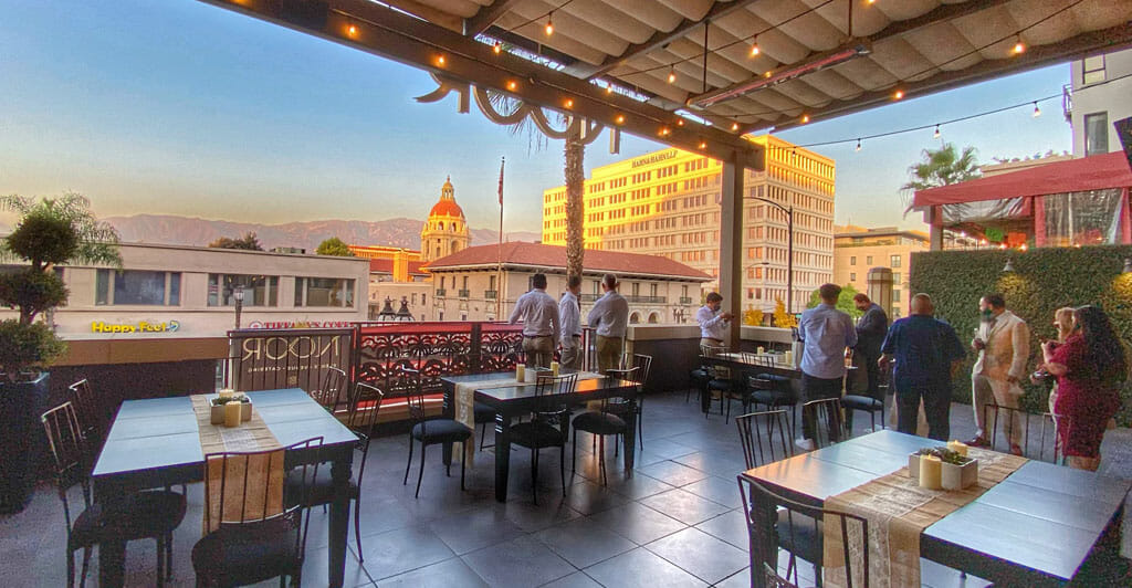 sofia balcony open for outdoor dining at NOOR Pasadena