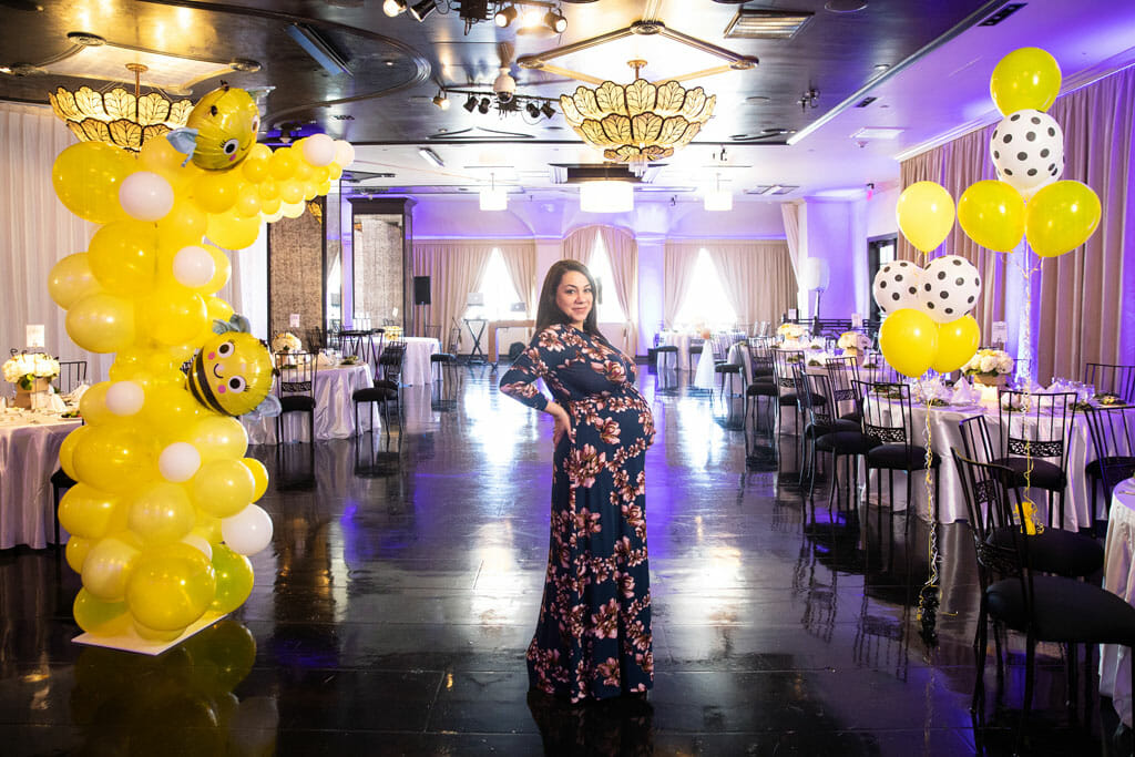 baby shower venue sofia banquet hall baby shower decorations with yellow balloons and pregnant woman
