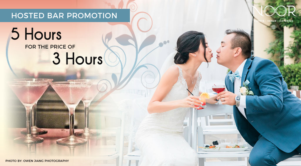 banner for wedding promotion showing bride and groom holding drinks and leaning in for a kiss on the terrace at NOOR in Pasadena