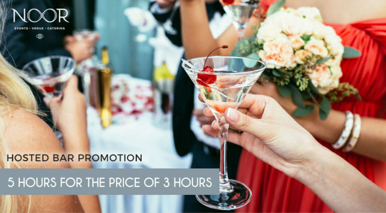 wedding hosted bar promotion banner with wedding guests holding drinks on the NOOR terrace in Pasadena